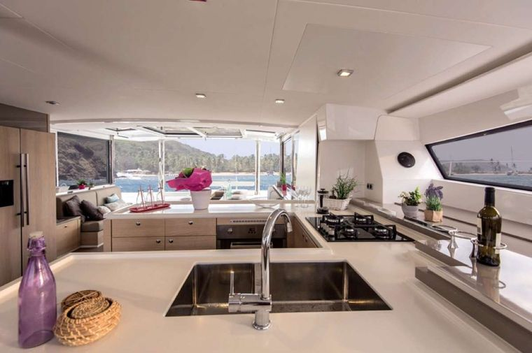 Crystal Dreams Yacht Charter - Galley to Salon
