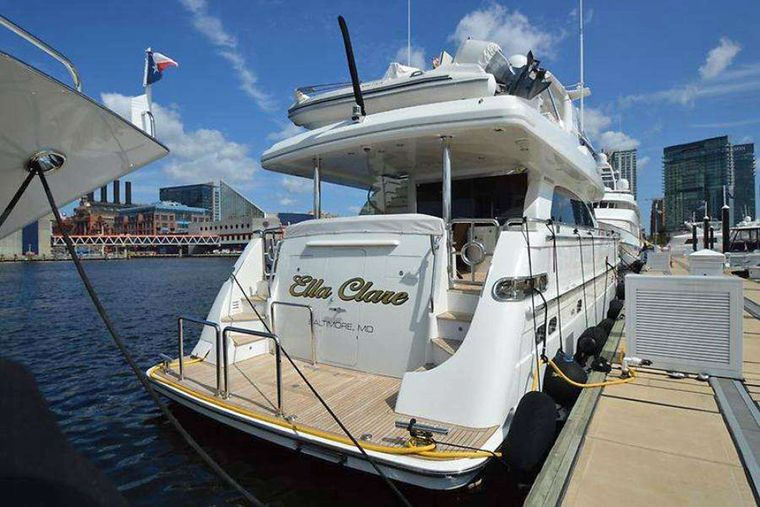 ELLA CLARE Yacht Charter - Stern of the Yacht at the Marina