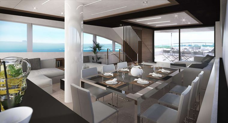 ACAPELLA Yacht Charter - Main Salon and Dining