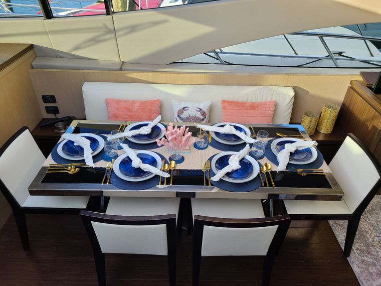 SHOWBOAT Yacht Charter - Dining Table