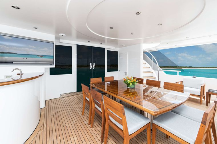 NO BAD IDEAS Yacht Charter - Aft Deck Dining