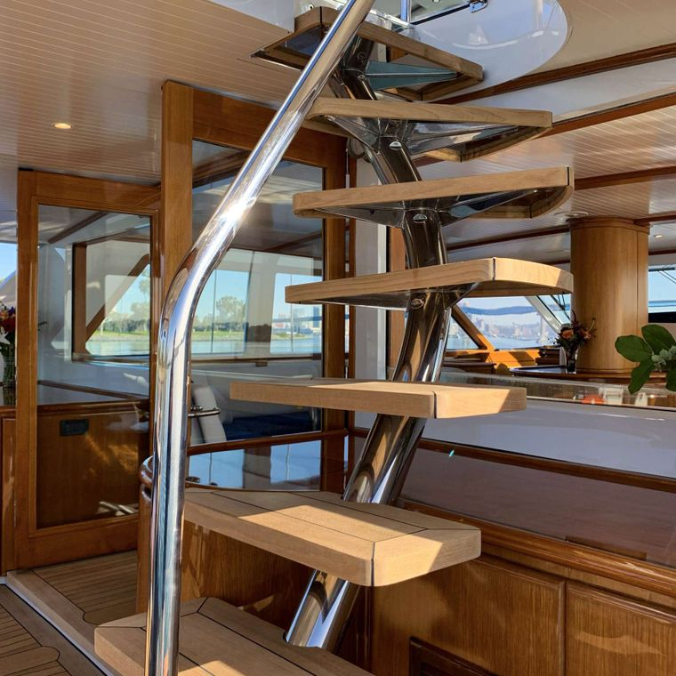 S/Y Kaori Yacht Charter - Stairs to the flybridge - no detail is not exquisite