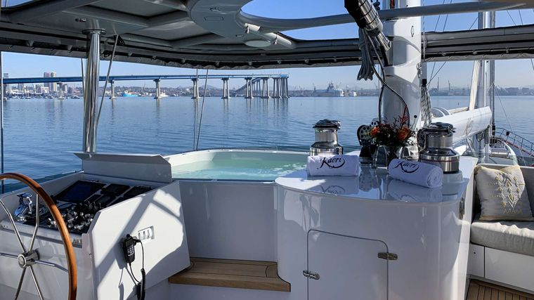 S/Y Kaori Yacht Charter - Heated seating, Sonos surround sound, enclosed to outdoor elements on the flybridge