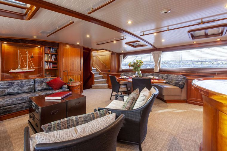 S/Y Kaori Yacht Charter - Main salon has formal dining area, bar and seating for 8-9