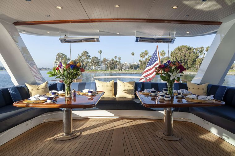 S/Y Kaori Yacht Charter - Fantail seating is heated and can be enclosed to keep out the wind or can be left open to enjoy the outdoors - seating up to 18
