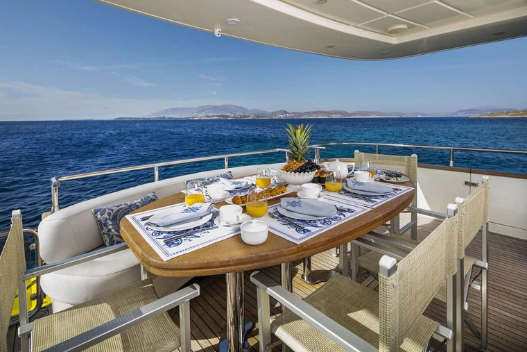GORGEOUS Yacht Charter - Aft deck morning view