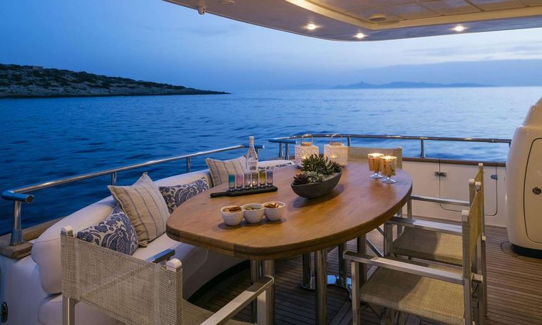 GORGEOUS Yacht Charter - Aft deck night view
